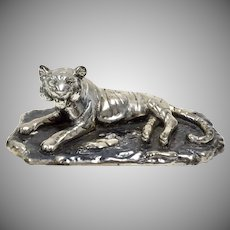 .999 Mexican Fine Silver Plated Plata Artistica Signed Tiger Statue