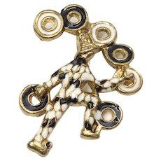 Heavy Black & White Goldtone Enamel Juggler or Harlequin Jester Brooch/Pin