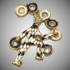 Heavy Black & White Goldtone Enamel Juggler or Harlequin Jester Brooch/Pin