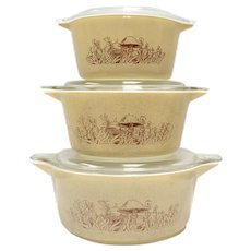 6-Pc Pyrex Corning Forest Fancies Mushroom 2.5qt , 1.5qt, 1qt Casserole Dish Set