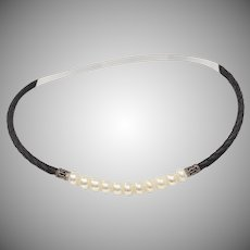 Cultured White Pearl & Black Braided Leather Choker Necklace w/ Sterling Silver Clasp