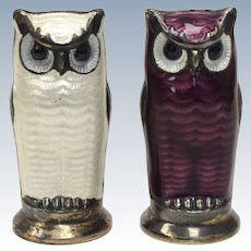 David Andersen Norway Sterling Silver Purple & White Enamel Figural Owl Salt & Pepper Shakers