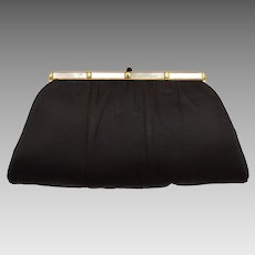 Signed L & M Black Satin Mother of Pearl Trim Evening Clutch Purse