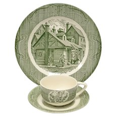 6-Pc Royal China The Old Curiosity Shop Green Dinner Plates, Tea Cups & Saucer Set