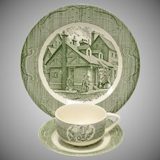 6-Pc Royal China The Old Curiosity Shop Green Dinner Plates, Tea Cups & Saucer Set