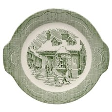 Royal China The Old Curiosity Shop Green Serving Platter or Cake Plate w/ Hinges on Rim