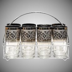 c1950s Set of 8 Mid-Century Modern Silver Fade Grapes Dorothy Trope Style Glasses w/ Caddy