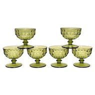 c1960s Set of 6 Colony Whitehall Avocado Green Cubist Champagne/Tall Sherbet Glasses