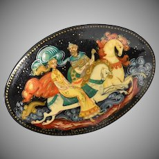 Signed Hand Painted Man & Woman on Horses Back Lacquer Wood Oval Pin - Made in Russia