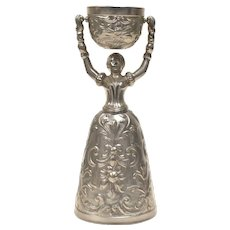 Fein Zinn Pewter Ornate Bride & Groom Wedding or Marriage Toasting Chalice Cup - Germany