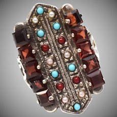 Huge Art Deco Sterling Silver Ruby Red Crystal, Seed Pearl, Blue Faux Turquoise & Red Enamel Coral Bead Ring - Size 9
