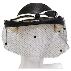 Bellini N.Y. Black & Ivory White Straw Bowler Hat w/ Black Netting