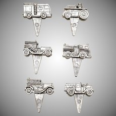 Lunt Silversmiths Set of 6 Silverplate Generations of Fire Engine Birthday Candleholders in Original Box