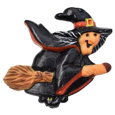 Hallmark Cards Inc. Happy Witch on a Broom Stick Pin/Brooch