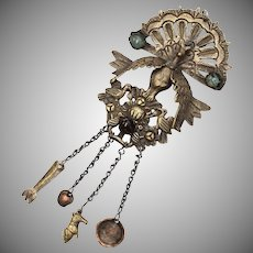 Silver-plated Brass Peacock Pendant w/ Glass Cabochon Stones & Milagros Dangles