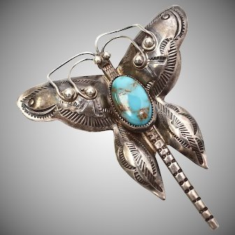 Early Fred Harvey Era Hand Stamped Sterling Silver Turquoise Butterfly Brooch/Pin