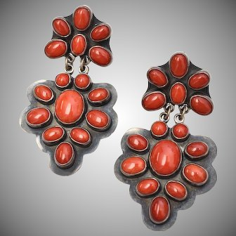 George Nakai Signed Sterling Silver Coral Cabochon Dangle Earrings