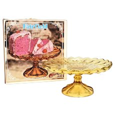 c1960s Fairfield Anchor Hocking Amber Glass Footed Cake Plate Stand or Platter w/ Original Box