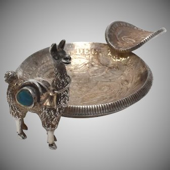 Sterling Silver Llama & c1934 Peruvian Coin Ashtray w/ Turquoise Accent
