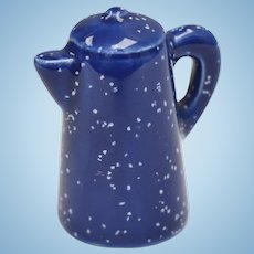 Dollhouse Miniature Blue Speckled Graniteware/Enamelware Tea/Coffee Kettle