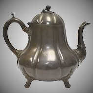c1870s Joseph Fenton & Sons Sheffield Britannia Metal Gourd Footed Coffee Pot w/ Acorn Finial