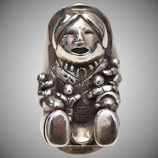 c1989 Carol Felley Sterling Silver Native American Storyteller Ring - Size 8