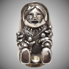 c1989 Carol Felley Sterling Silver Native American Storyteller Ring - Size 8