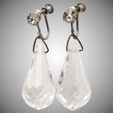 c1920s Art Deco Era Large Briolette Crystal Dangle Screwback Earrings