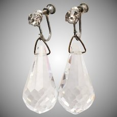 c1920s Art Deco Era Large Briolette Crystal Dangle Screwback Earrings