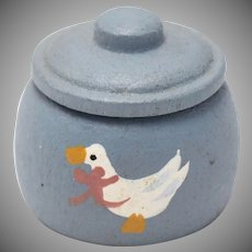 Dollhouse Miniature Painted Mother Goose Cookie Jar w/ Removable Lid