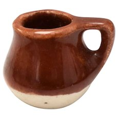 Dollhouse Miniature Brown & Speckled Cream Glazed Mug w/ Handle
