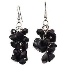 Black Rondelle Bead Cha Cha Dangle Earrings