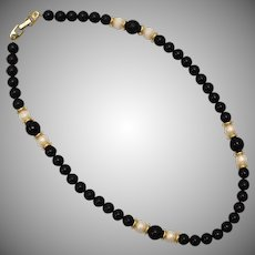 Napier Black, Gold & White Single Strand Beaded Necklace