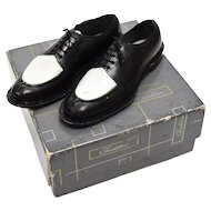 Salesman Sample or Cake Topper - Men's Two Tone Black & White Oxford Dress Shoes w/ Fabric Laces in Original Box