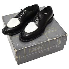 Miniature Salesman Sample or Cake Topper of Men's Black & White Dress Shoes in Original Box