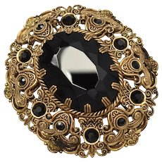 c1940s Signed West Germany Large Black Faceted Glass Domed Filigree Brass Brooch/Pin