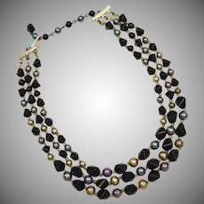 c1960s Triple Strand Unusual Bicone Octahedron Black Glass & Peacock Glass Bead Necklace ~ Japan