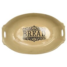 c1940s Moira Pottery England 'BREAD' Rustic Stoneware Platter or Serving Dish w/ Handles