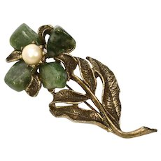 c1960s Hobe Signed Green Nephrite Jade White Pearl Flower Brooch/Pin