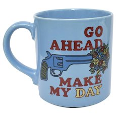"Mt Clemens Pottery ""Go Ahead Make My Day"" Blue Dirty Harry Movie Quote Coffee Mug"