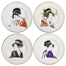 Ukiyo-e Geisha Women Gold-trimmed Porcelain Decorative Art Plates