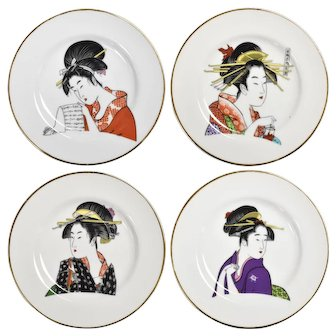 Ukiyo-e Geisha Women Gold-trimmed Porcelain Decorative Art Plates