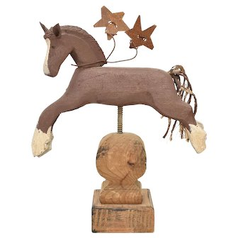 Handcrafted Primitive Leaping Wood Horse w/ Rusty Metal Stars on Finial Sculpture Art