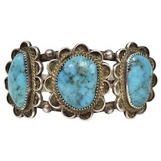 Native American Sterling Silver & Turquoise Flower Cabochon Cuff Bracelet