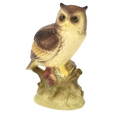 Japan Made Great Horned Owl Painted Porcelain Figurine
