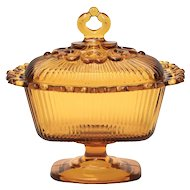 c1950s Indiana Glass Heavy Ribbed Amber Glass Footed Lace Edge Candy / Compote Dish w/ Original Lid