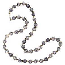Purple Lace Agate 10mm Round Bead Necklace