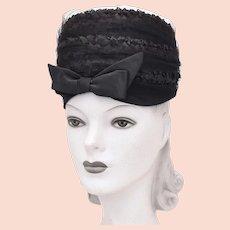 c1960s Kutz Signed Black Raffia Straw & Large Bow Netted Veil Toque Hat