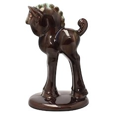 Royal Haeger Art Deco Style Brown Ceramic Drip Glaze Horse Sculpture Figurine