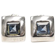 Sterling Silver Noy Li of Israel Blue Topaz Square Stud Earrings